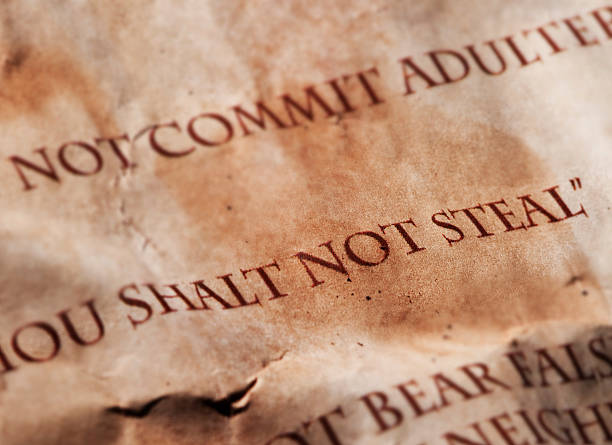 Eight commandment, thou shalt not steal stock photo