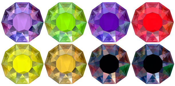 eight cut diamonds ten-sided decagon rendered illustration - decagon stock pictures, royalty-free photos & images