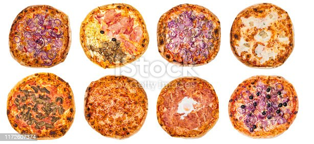 istock Eight different pizza set for menu or banner. Onion Pepperoni, Four Season, tuna and onion, four cheese, pizza with mushroom, margherita, egg and olive onions. White background. 1172607374