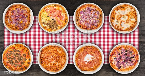 istock Eight different pizza set for menu or banner. Onion Pepperoni, Four Season, tuna and onion, four cheese, pizza with mushroom, margherita, egg and olive onions. Concept Pizza delivery service to home 1172607395