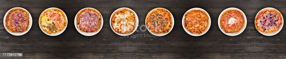 istock Eight different pizza set for menu or banner. Onion Pepperoni, Four Season, tuna and onion, four cheese, pizza with mushroom, margherita, egg and olive onions. Concept Pizza delivery service to home 1172612796