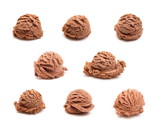 eight different scoops of chocolate ice cream on a white background - cucchiaio dosatore foto e immagini stock