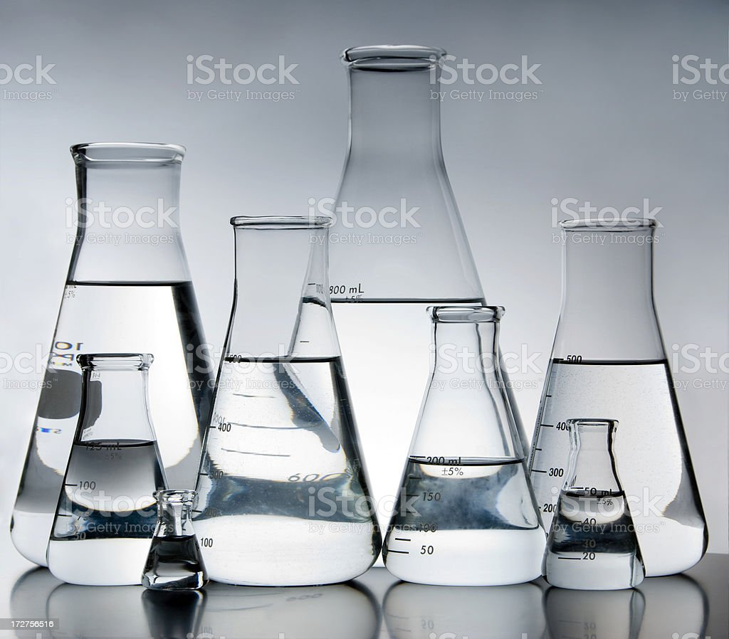 Eight Erlenmeyer Flasks royalty-free stock photo