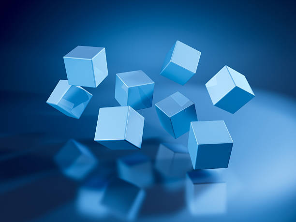 Eight Flying Blue Cubes 3D Render. Very high resolution available! Use it for Your own composings!Related images: abstract 3d stock pictures, royalty-free photos & images