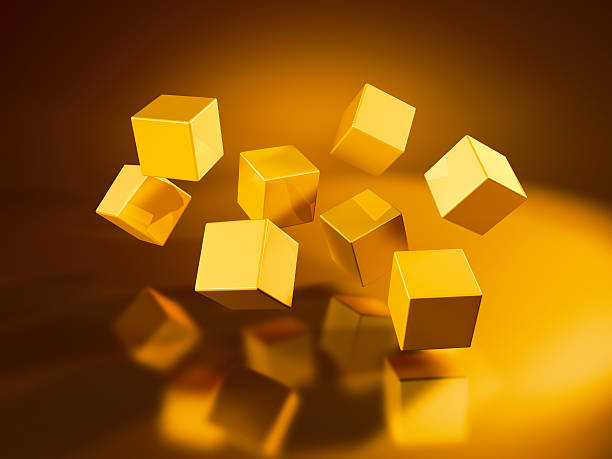 Eight Flying Golden Cubes 3D Render of eight flying golden cubes. Very high resolution available! Concept image for change/rearrangement. Use it for Your own composings!Related images: abstract 3d stock pictures, royalty-free photos & images