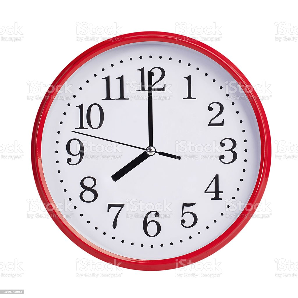 Eight hours on a round dial stock photo