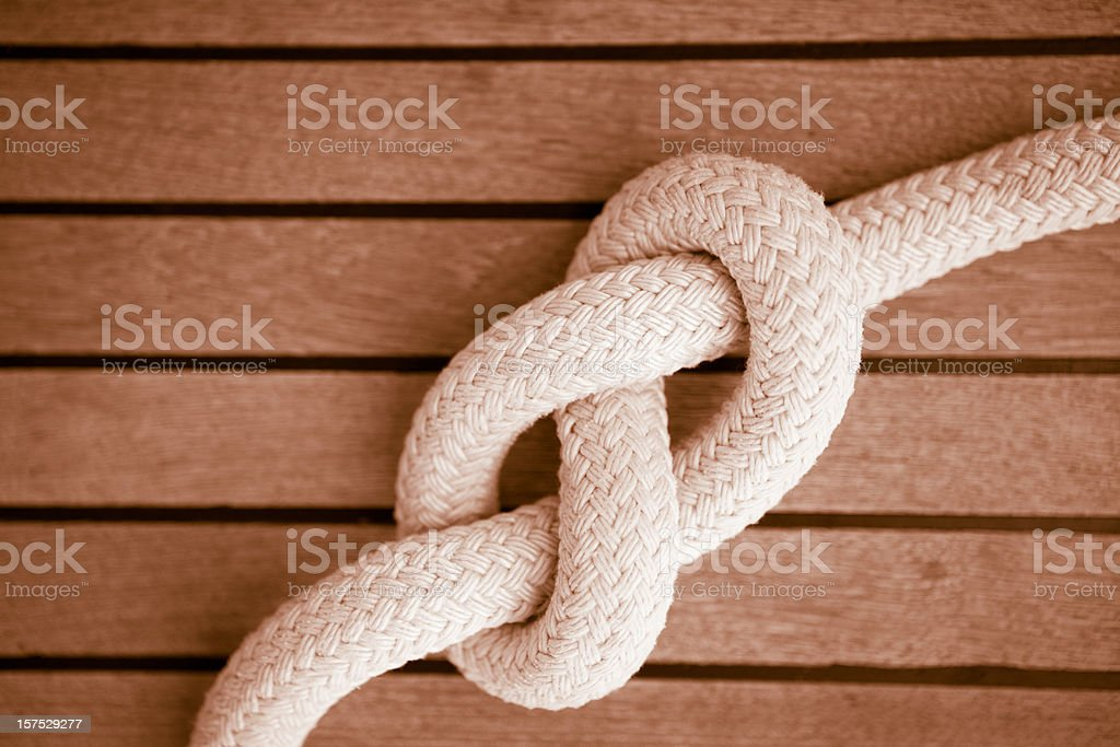 Eight knot on a sail boat deck royalty-free stock photo