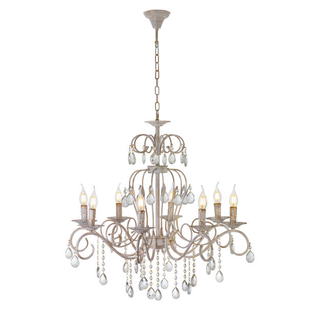 Eight lamp chandelier with crystal pendants Included ceiling light, isolated on white background chandelier stock pictures, royalty-free photos & images