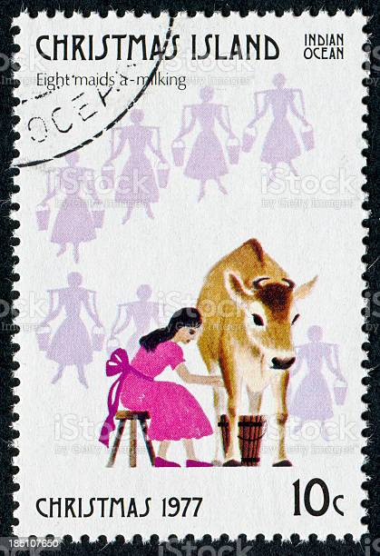 Eight Maids A Milking Stamp