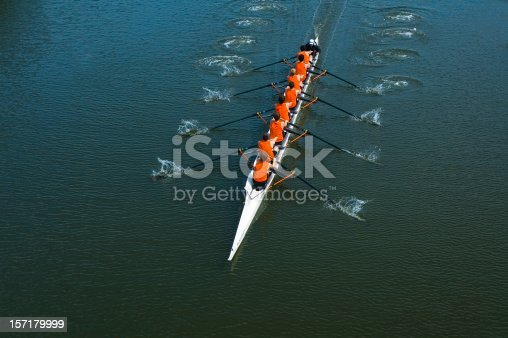 istock Eight Man Rowing Team - Teamwork 157179999