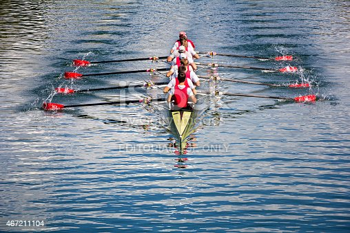 Zagreb, Croatia - September 21, 2014: Young athletes train rowing on the Lake Jarun.