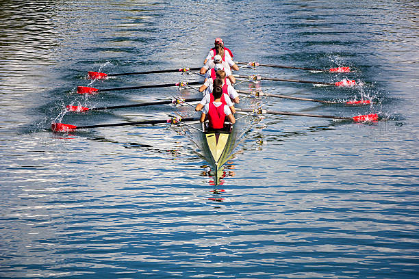 eight men rowing - sports team stock photos and pictures