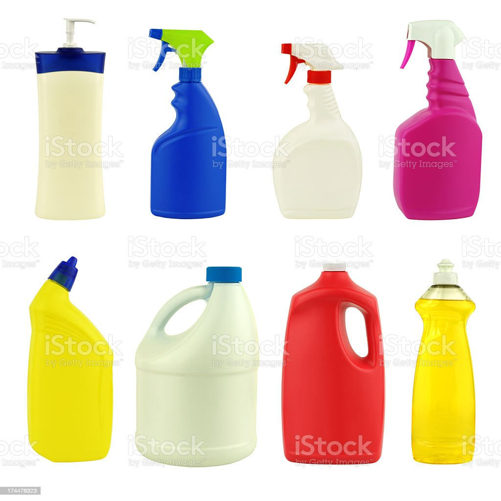 Eight multicolored label-less cleaning product bottles stock photo