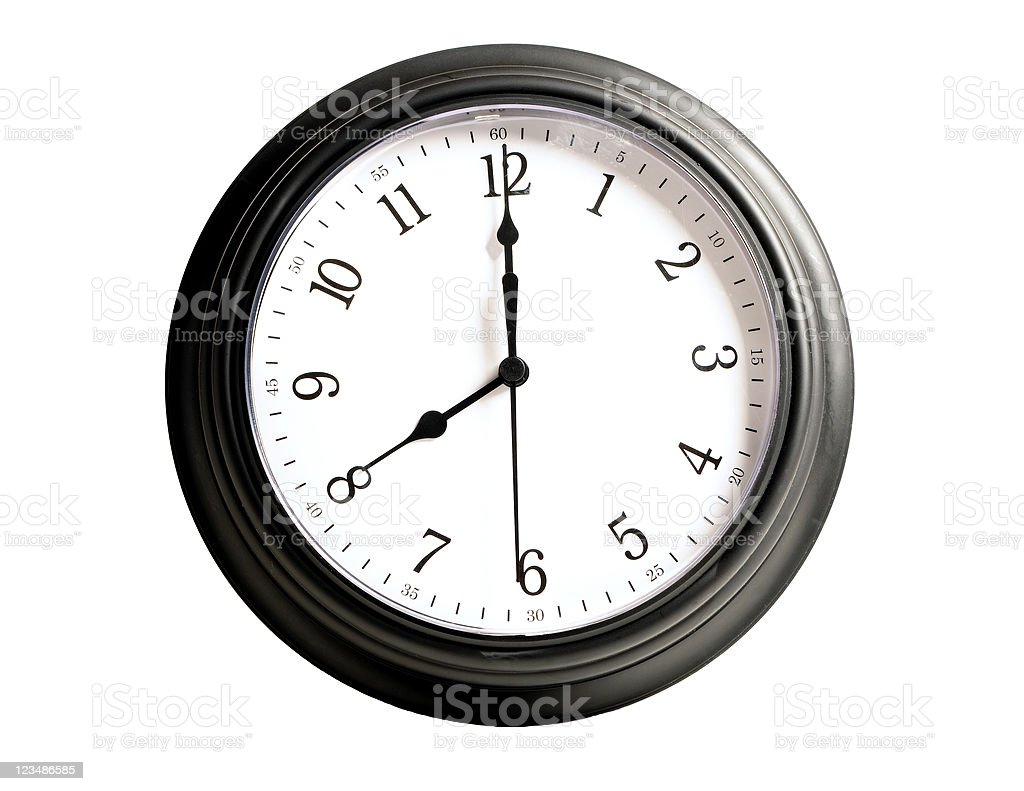 Eight O'Clock Clock Isolated on White stock photo