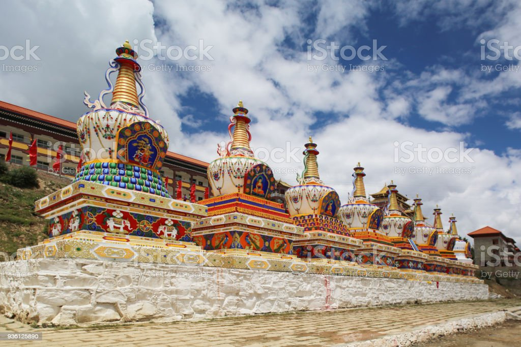 Eight pagodas in front of Changlie Monastery,  Tibet, China stock photo