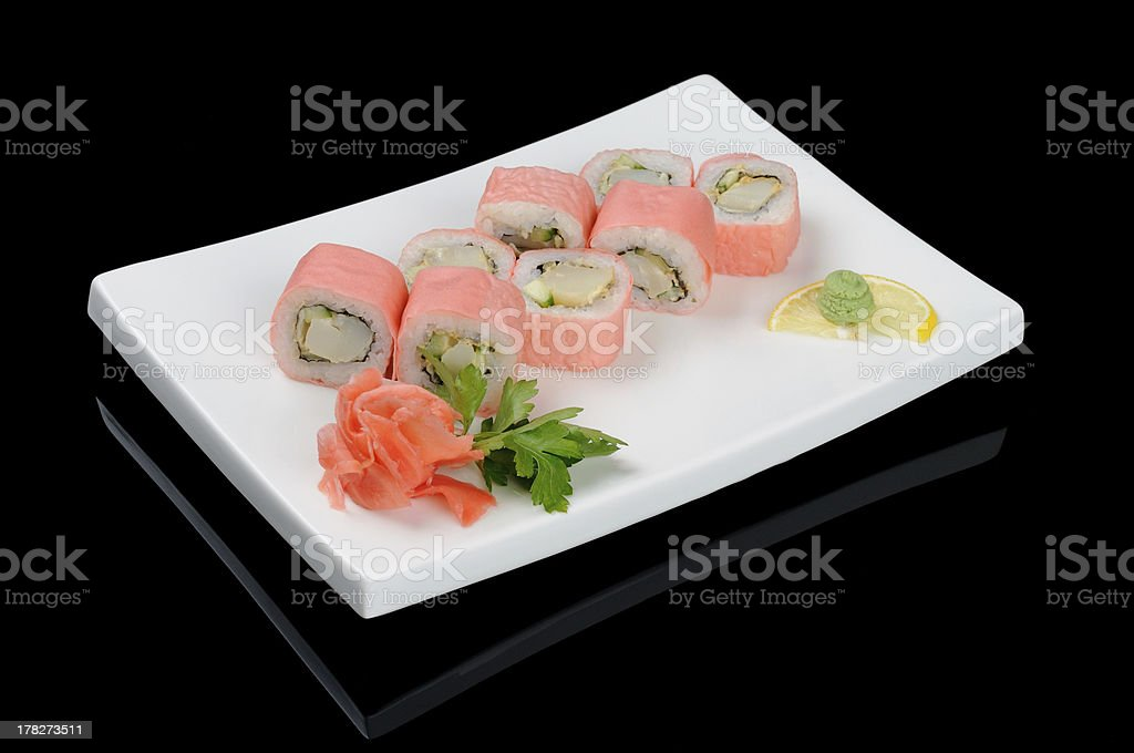 Eight pink rolls royalty-free stock photo
