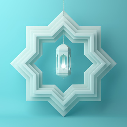 1142326460 istock photo Eight point star paper cut and hanging lamp on blue pastel background. 1142726583