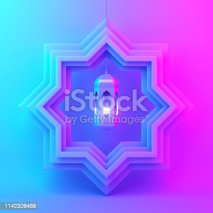 1130047135istockphoto Eight point star paper cut and hanging lamp on blue pink violet gradient background. 1142326459