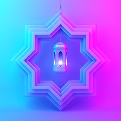 1142326460 istock photo Eight point star paper cut and hanging lamp on blue pink violet gradient background. 1142326459