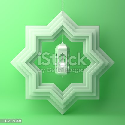 1140668282istockphoto Eight point star paper cut and hanging lamp on green pastel background. 1142727906