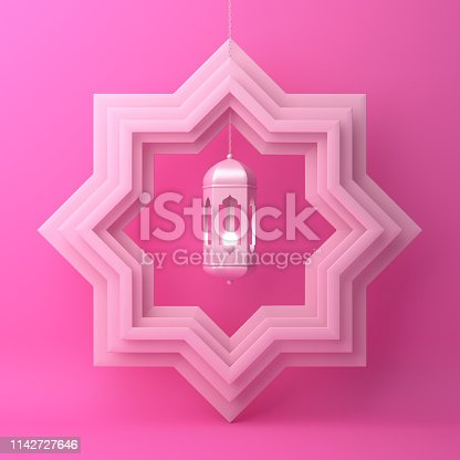 1142727715istockphoto Eight point star paper cut and hanging lamp on pink pastel background. 1142727646