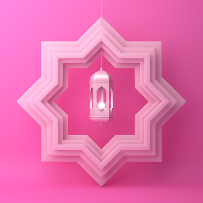 1142326460 istock photo Eight point star paper cut and hanging lamp on pink pastel background. 1142727646