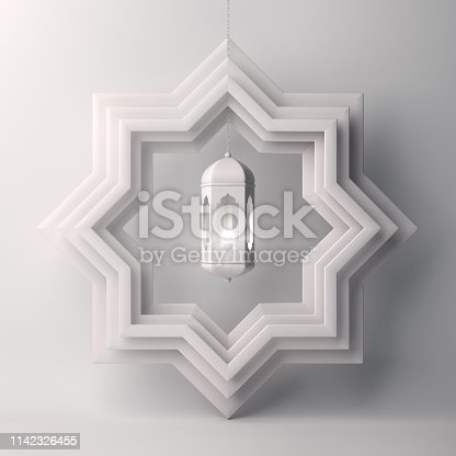 1130047135istockphoto Eight point star paper cut and hanging lamp on white background 1142326455