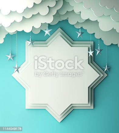 1142727715istockphoto Eight point star paper cut, cloud, star on blue pastel background copy space text. 1144049178