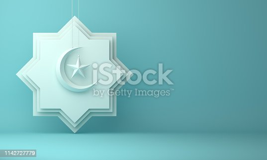 1142727715istockphoto Eight point star paper cut, hanging crescent moon  and star on blue pastel background. 1142727779