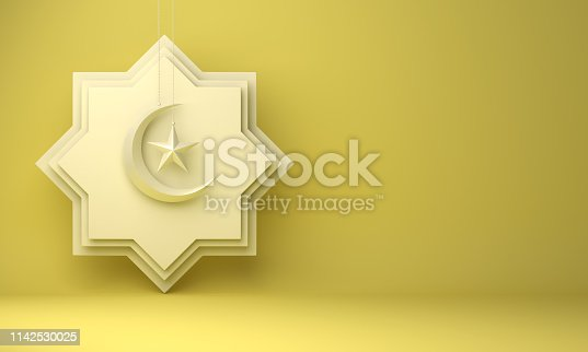 1142727715istockphoto Eight point star paper cut, hanging crescent moon and star on yellow pastel background. 1142530025