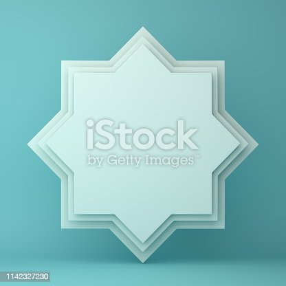 1142727715istockphoto Eight point star paper cut on blue pastel background. 1142327230