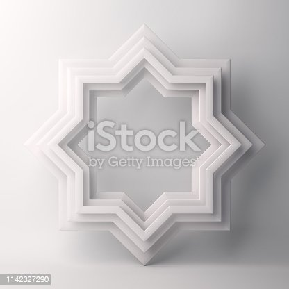 1142727715 istock photo Eight point star paper cut on white background. 1142327290