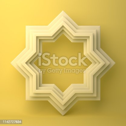 1142727715istockphoto Eight point star paper cut on yellow pastel background. 1142727634