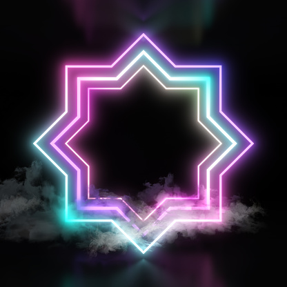 istock Eight point star pink blue neon lights with smoke on dark black background. 1140705938