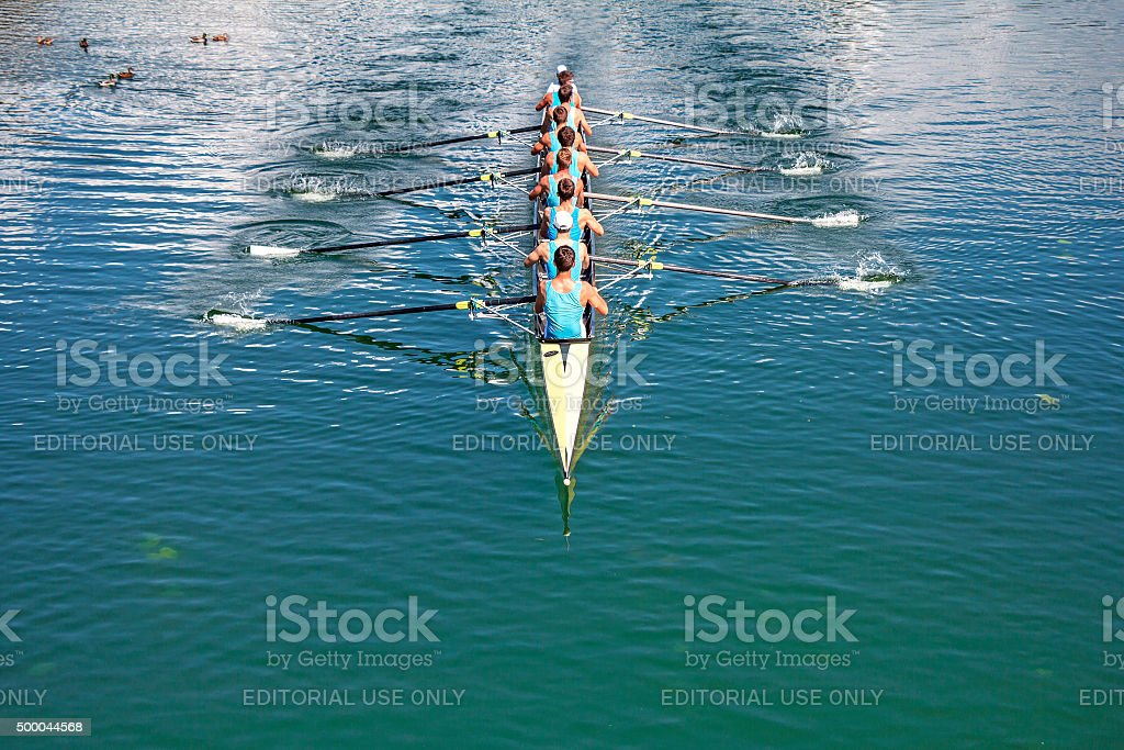 Eight Rowers training rowing stock photo