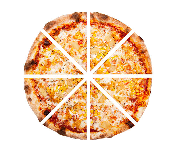 eight slices of pizza isolated on the white background - 8 infographic stock photos and pictures
