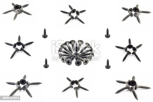 istock Eight stars four single and onecircular composition with black Oxidized self-tapping screw isolated on white background 696584654