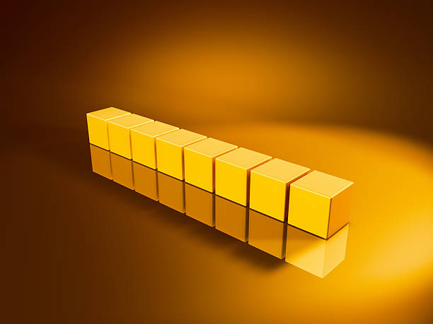 Eight Straight Golden Cubes 3D Render of eight straight golden cubes. Very high resolution available! Concept image for change/rearrangement. Use it for Your own composings!Related images: golden cube stock pictures, royalty-free photos & images