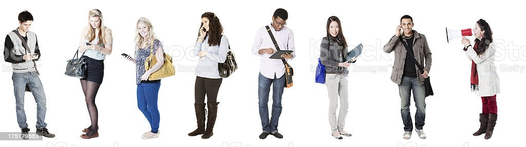 Eight students, in a row royalty-free stock photo