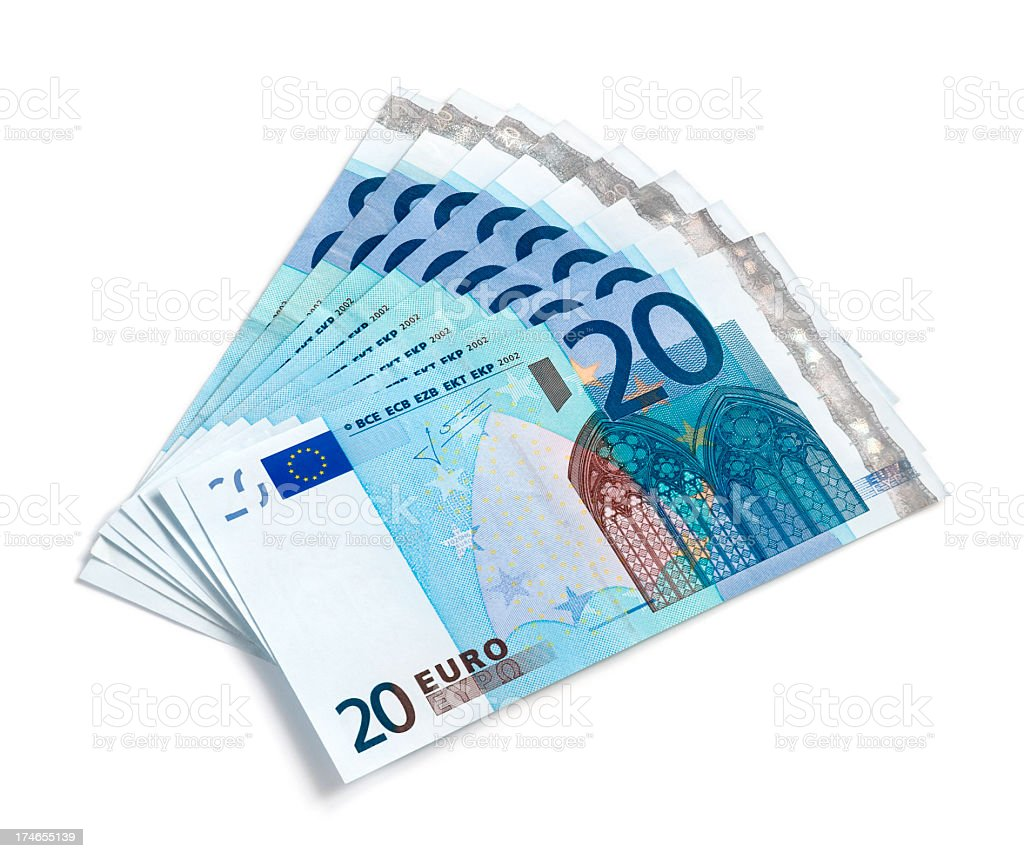 Eight twenty-euro banknotes fanned out on a white background stock photo