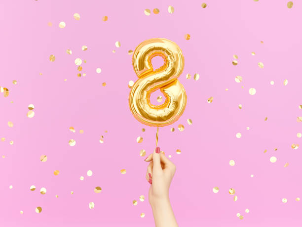 eight year birthday. eight-year anniversary background - number 8 stock pictures, royalty-free photos & images