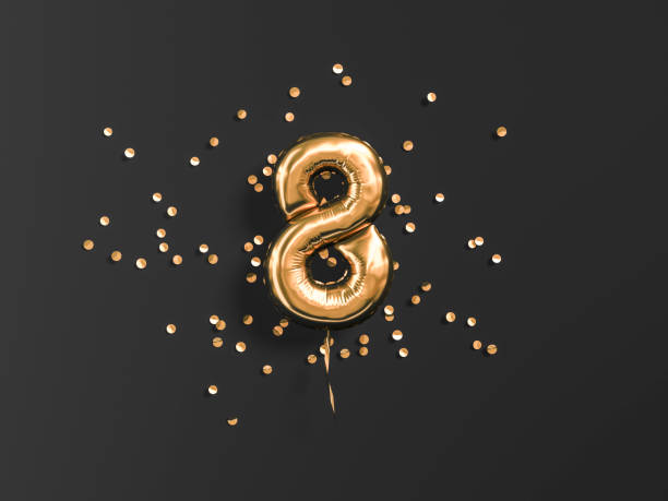 eight year birthday. number 8 flying foil balloon - number 8 stock pictures, royalty-free photos & images
