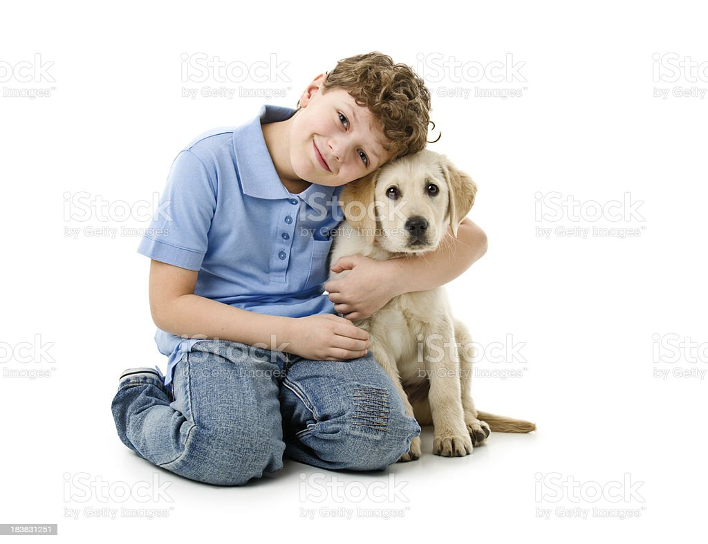 eight years old boy wit his dog stock photo