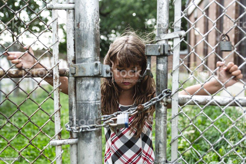 eight years old school girl stock photo