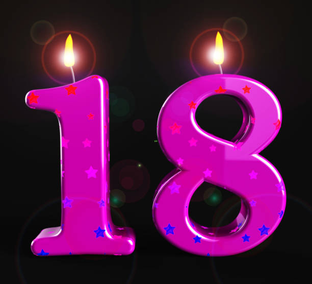 Eighteenth birthday celebration candle shows a happy event - 3d illustration stock photo