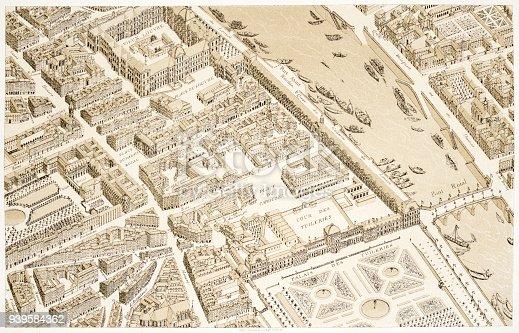 A map of Paris from the 18th century. Engraving/illustration from the book