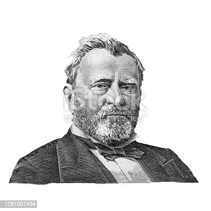 Eighteenth US president Hiram Ulysses Grant (1869-1877) isolated on white background. Black and white portrait of Hiram Ulysses Grant. Fragment of 50 US dollar banknote