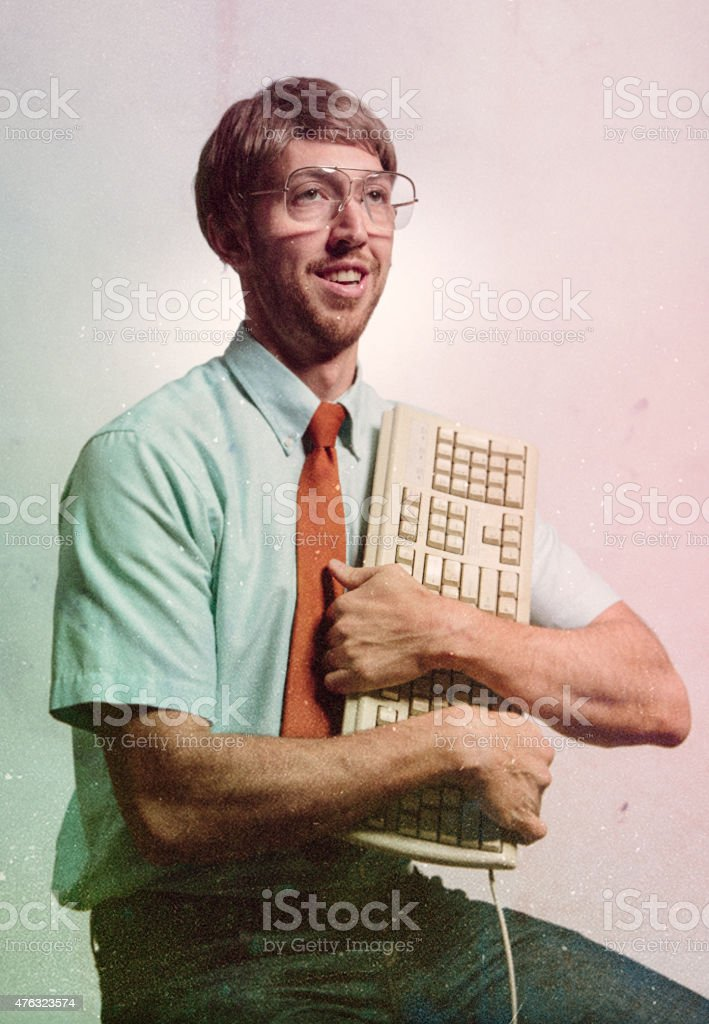 Eighties Computer Genius Portrait stock photo