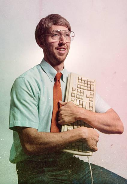 eighties computer genius portrait - nerd stock photos and pictures