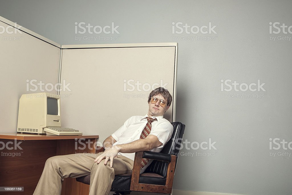 Eighties Computer Tech Nerd stock photo